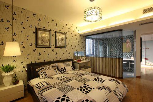 现代简约三居室卧室床头柜装修效果图