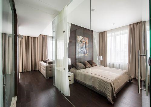 气质大方现代风格明亮卧室装修实景图