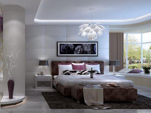 现代简约四居室卧室灯具装修图片