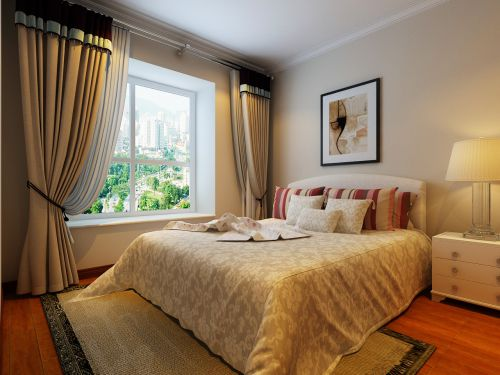 现代简约三居室卧室照片墙装修效果图