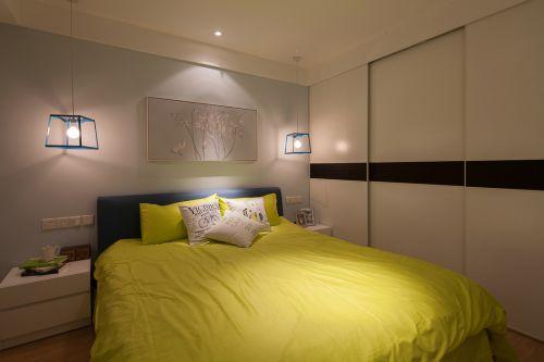 现代简约一居室卧室背景墙装修效果图