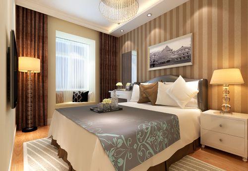 现代简约三居室卧室床装修效果图大全
