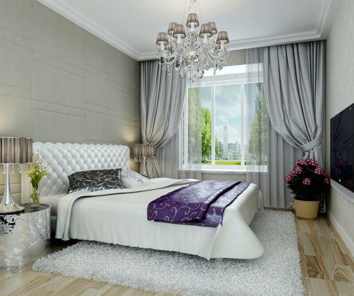 现代简约一居室卧室床头柜装修效果图
