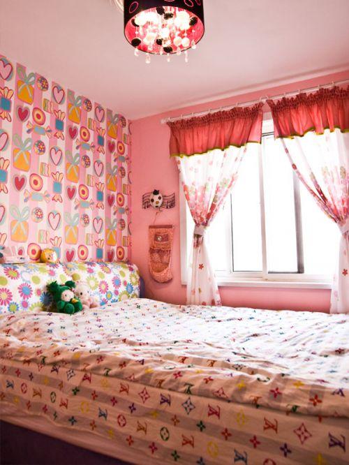 现代简约一居室卧室壁纸装修效果图欣赏
