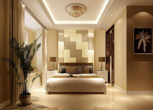 现代简约三居室卧室窗帘装修图片