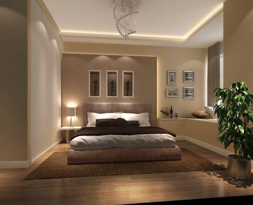 现代简约三居室卧室照片墙装修效果图大全