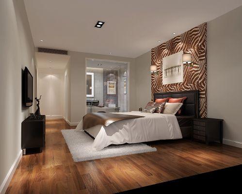 现代简约三居室卧室浴缸装修效果图大全
