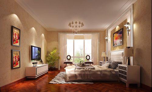 现代简约三居室卧室床装修图片