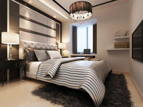三居室现代简约风格典雅卧室吊灯效果图