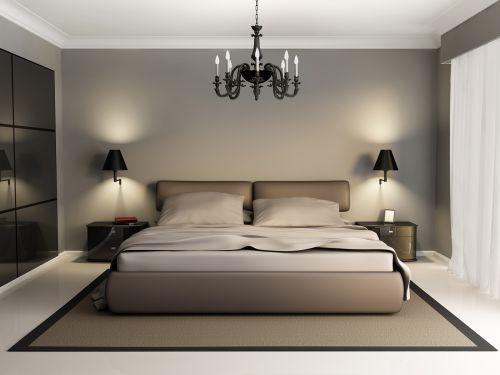 卧室现代简约灰色双人床效果图