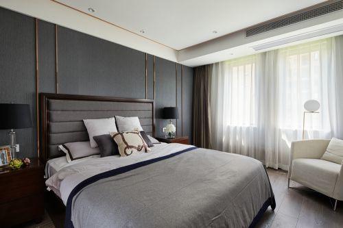 灰色系现代风格轻奢卧室装修实景图