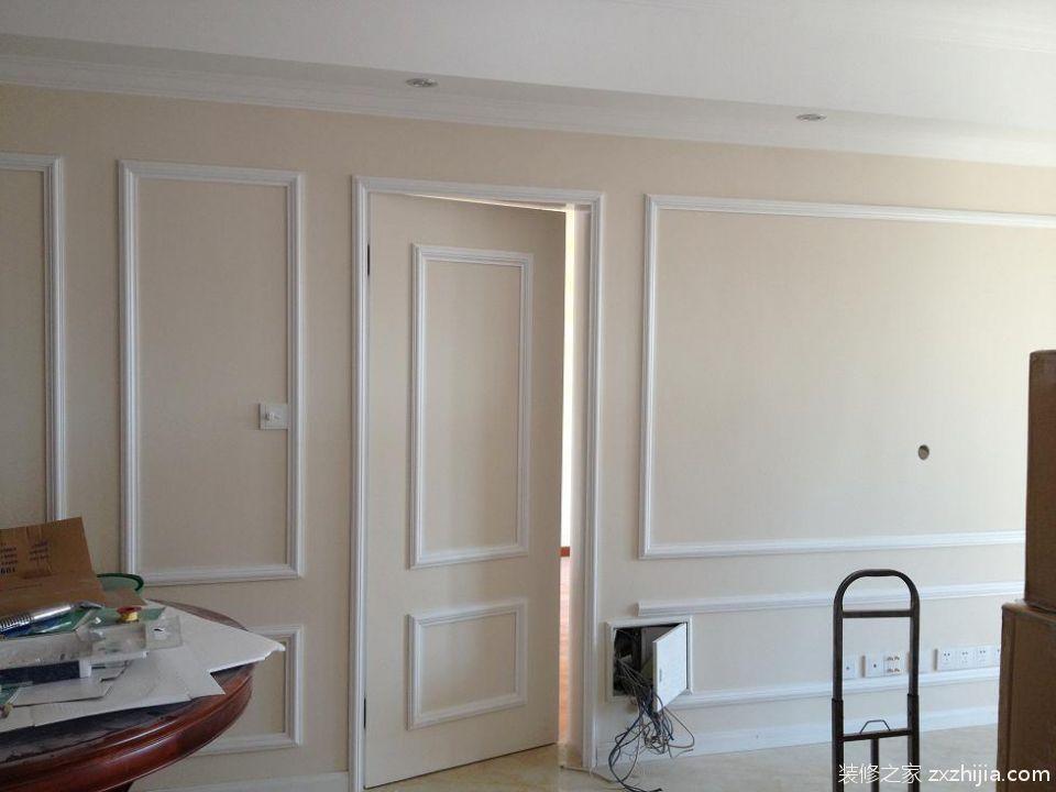 120平米中式风格三居室卧室白色隐形门装修效果图
