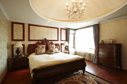 咖啡色121平三居简欧装修样板间卧室实景图