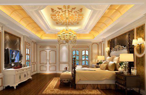 三居室简欧设计温馨黄色卧室吊灯效果图