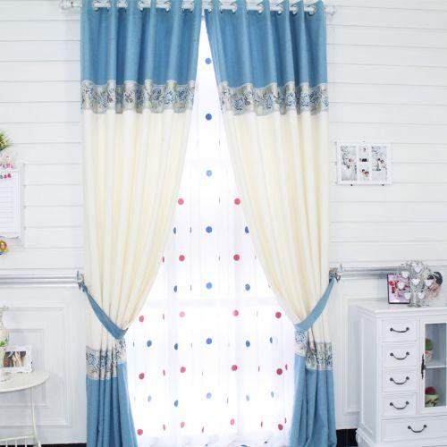 蓝色白色简欧卧室拼色窗帘效果图