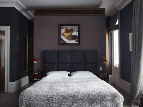 简欧风格低调雅致卧室装修实景图