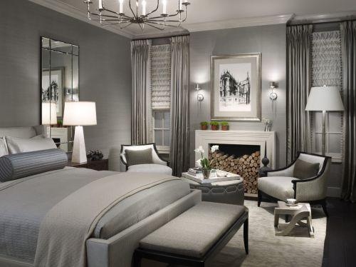 灰色简奢简欧风格卧室效果美图
