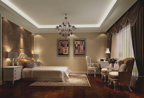 简欧风格四居室卧室壁纸装修图片
