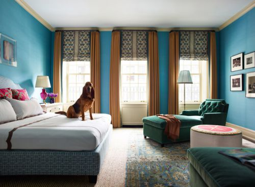 简欧风格高贵典雅蓝色卧室装修效果图