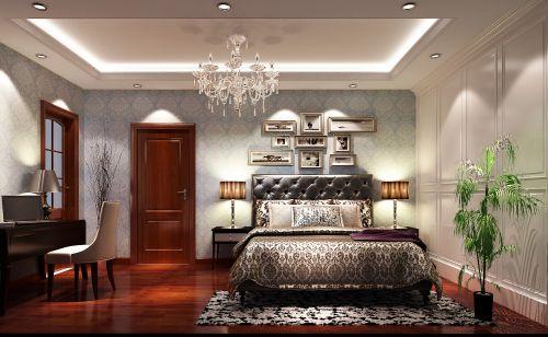 简欧风格别墅卧室照片墙装修效果图