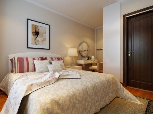 简欧风格三居室卧室床装修效果图欣赏