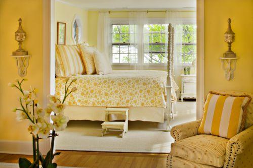 粉黄清新简欧风格卧室大床装修图