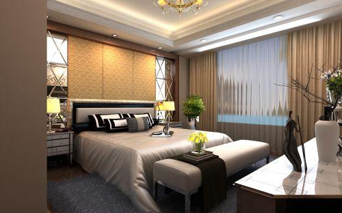 简欧风格二居室卧室背景墙装修效果图欣赏