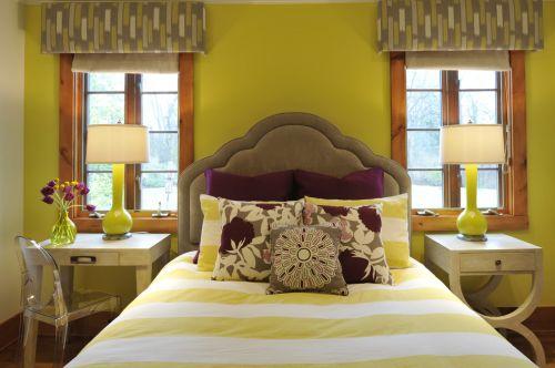 简欧风格黄色卧室布艺软床装修图