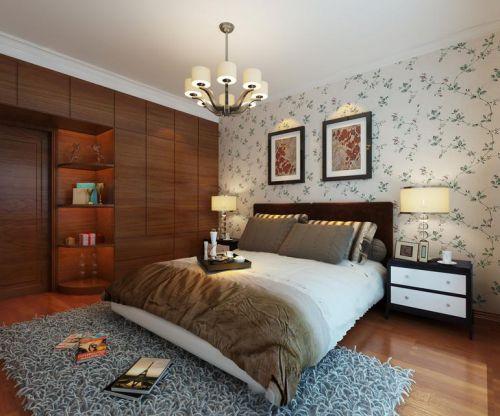 二居室简欧风卧室实木衣柜装修效果图