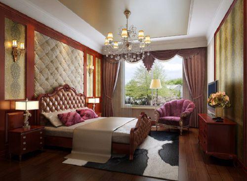 简欧风格四居室卧室壁纸装修效果图大全