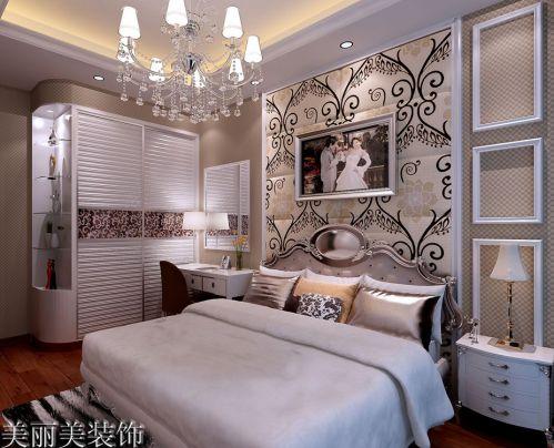 简欧风格四居室卧室床头柜装修图片