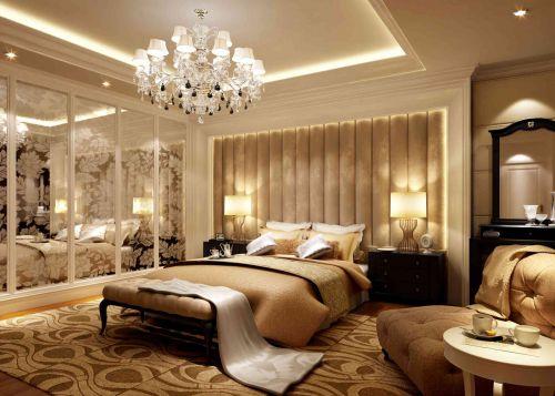 咖啡色系奢华柔软简欧风格卧室效果图
