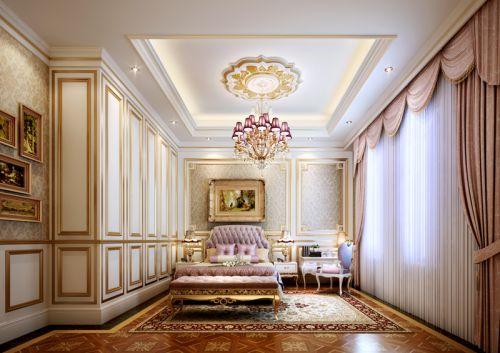 简欧风格别墅卧室窗帘装修效果图欣赏