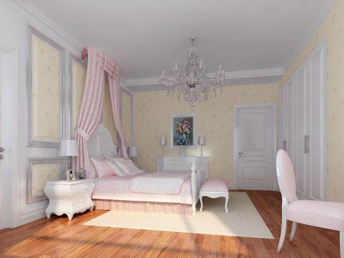 简欧风格三居室卧室床装修图片