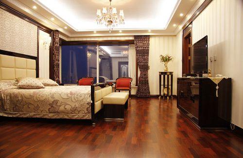 简欧风格四居室卧室吊顶,电视柜,床头柜,床,灯具装修图片