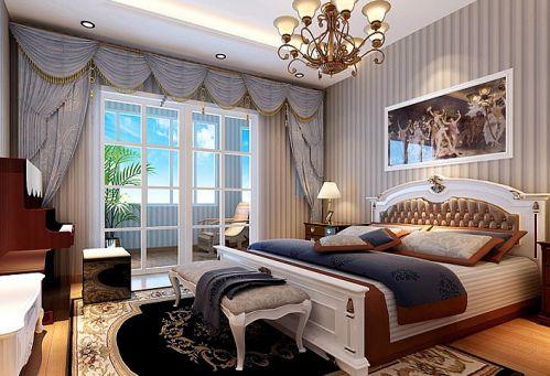 简欧风格五居室卧室窗帘装修效果图大全
