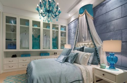 简欧风格三居室卧室灯具装修图片