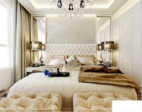 简欧风格三居室卧室背景墙装修效果图大全