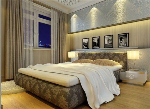 简欧风格三居室卧室窗帘装修效果图