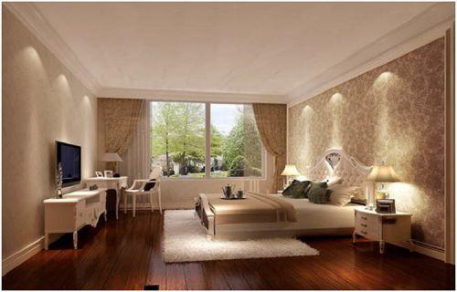 简欧风格二居室卧室窗帘装修图片