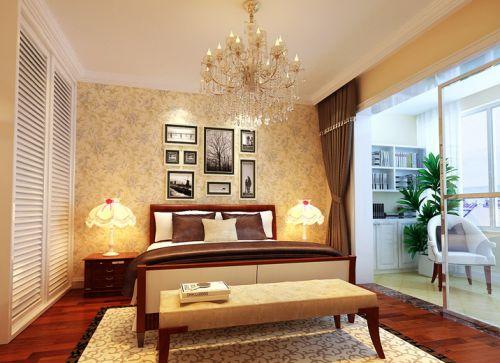 简欧风格二居室卧室窗帘装修效果图欣赏