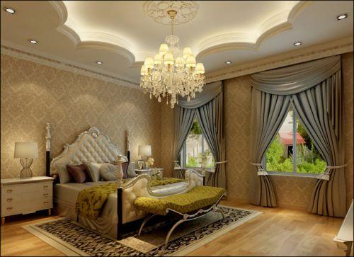 简欧风格六居室卧室窗帘装修效果图欣赏