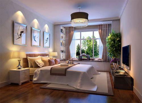 简欧风格四居室卧室窗帘装修效果图