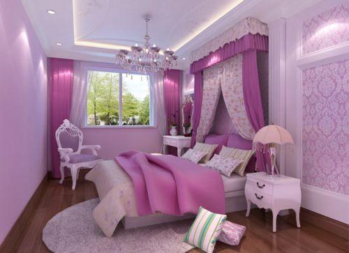 简欧风格三居室卧室窗帘装修图片