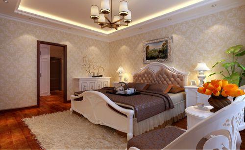 简欧风格三居室卧室壁纸装修效果图欣赏