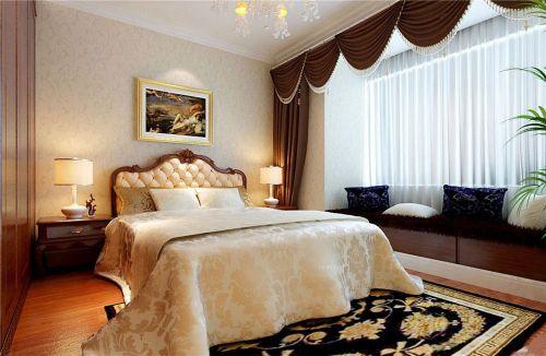 简欧风格三居室卧室窗帘装修效果图欣赏