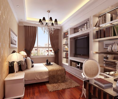 简欧风格二居室卧室照片墙装修效果图