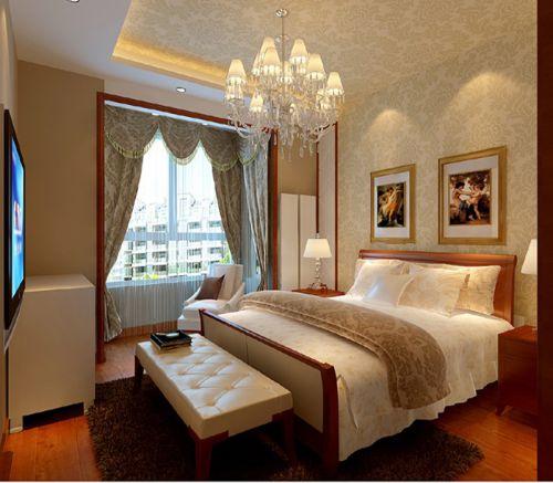 简欧风格三居室卧室吊顶装修效果图欣赏