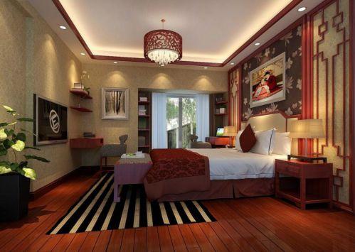 中式风格主卧室双人床装修效果图