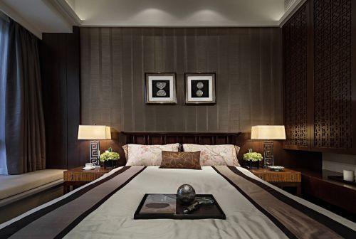 经典中式风别墅格卧室背景墙效果图